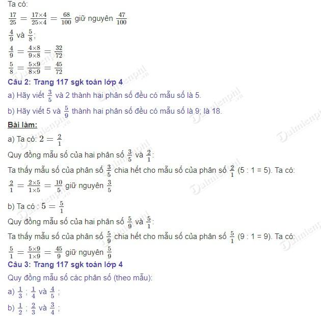 giai toan 4 trang 117 sgk luyen tap 2