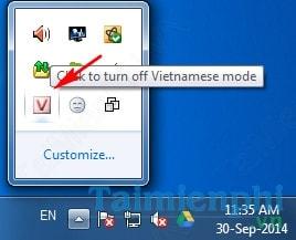 Bước 4: Kiểm tra biểu tượng Unikey ở dưới khay hệ thống đã chuyển sang chữ V  chưa. Nếu chưa bạn click vào đó để chuyển lại từ tiếng anh (E) sang tiếng  Việt ...