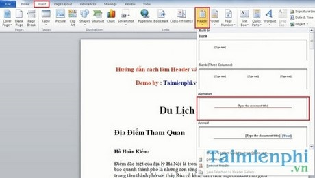 Tạo Header và Footer trong Word 2010