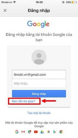 lay lai mat khau gmail tren iphone