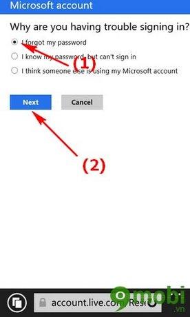 khoi phuc mat khau Microsoft