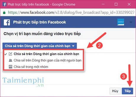 phat video truc tiep facebook, live video facebook tu may tinh