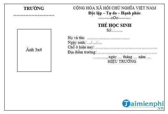 mau the hoc sinh thcs