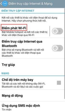 phat wifi dien thoai android sang laptop