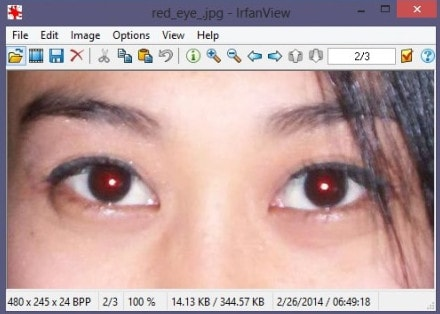 Fix red eye by IrfanView