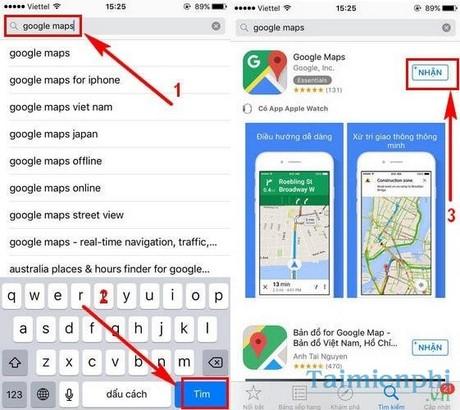 tai google map bang apple id viet nam