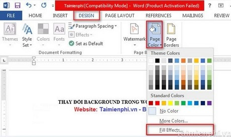 Word - Change the Background in Word 2013/2010