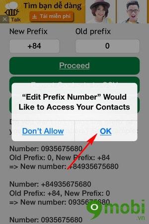 thay đổi mã vùng hàng loạt trên iPhone