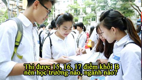 thi duoc 15 16 17 diem khoi b nen hoc truong nao nganh nao 2