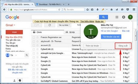 cach thoat gmail sign out gmail tren may tinh dien thoai