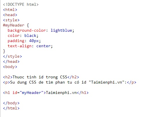 thuoc tinh id trong html