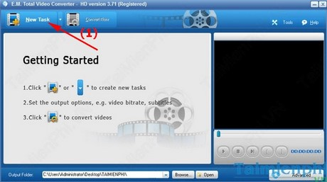 cach doi mp3 sang mp4 bang total video converter