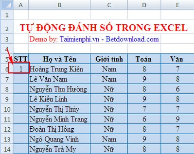 tu dong danh so trong excel