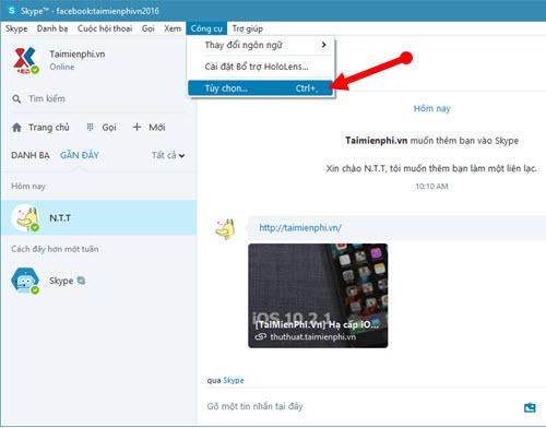 huong dan bat tat an hien link url preview tren skype che do xem truoc url 2