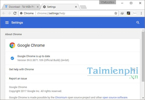 cap nhat google chrome