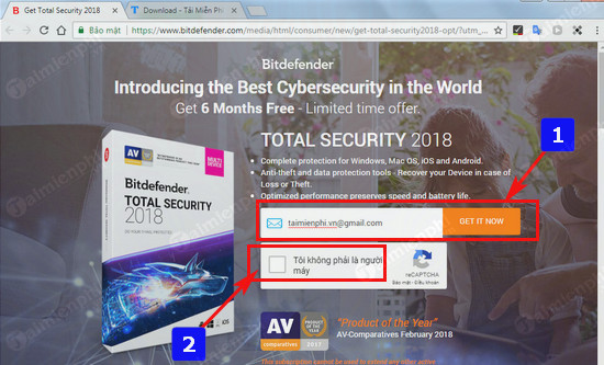 giveaway ban quyen mien phi bitdefender total security 2018 diet virus bao ve may tinh 2