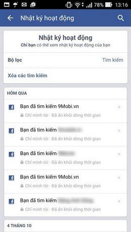 xem nhat ky facebook tren android