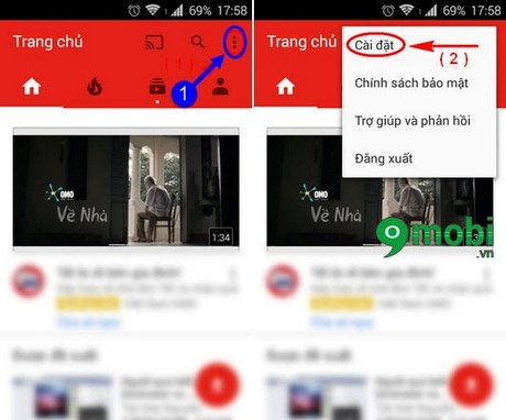 xoa lich su youtube iphone
