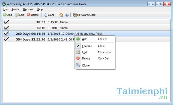 Free Countdown Timer -Download- Tải về - Nhắc việc trên máy tính -taim