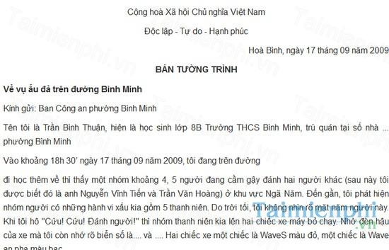 download ban tuong trinh su viec danh nhau