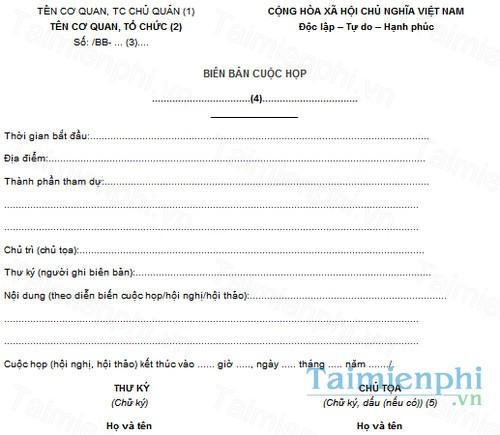 download mau bien ban cuoc hop cong ty