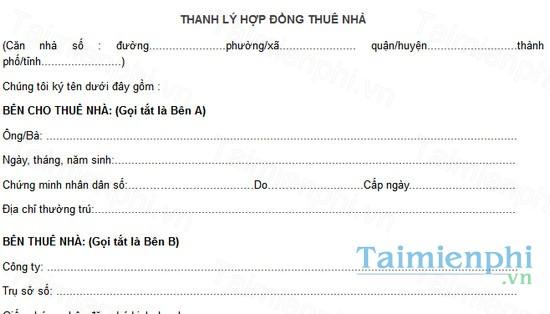 download mau bien ban thanh ly hop dong thue nha