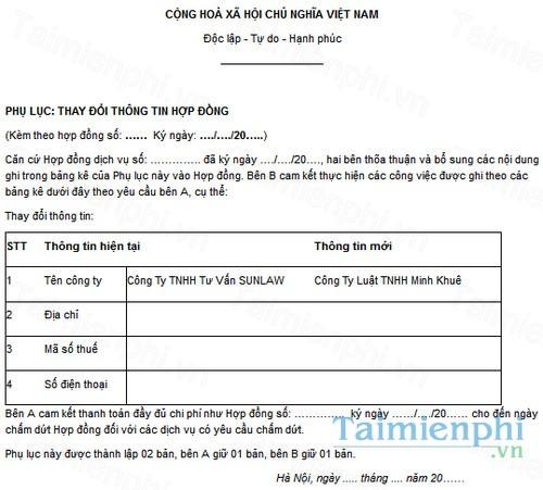 download phu luc thay doi thong tin trong hop dong