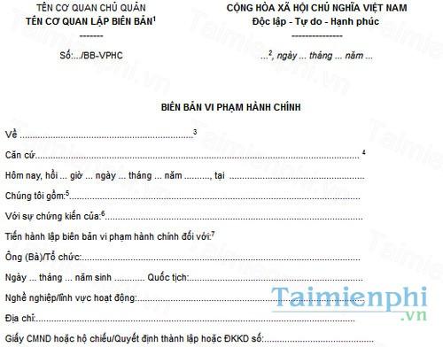 download mau bien ban vi pham hanh chinh