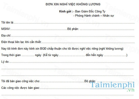 download mau don xin nghi viec khong luong