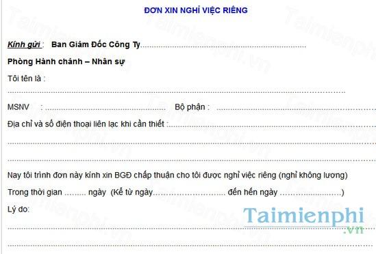 download mau don xin nghi viec rieng