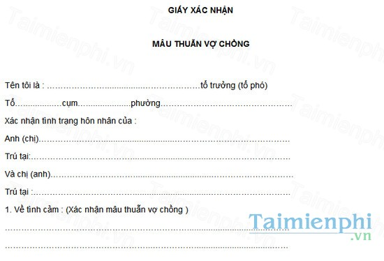 download mau giay xac nhan mau thuan vo chong form