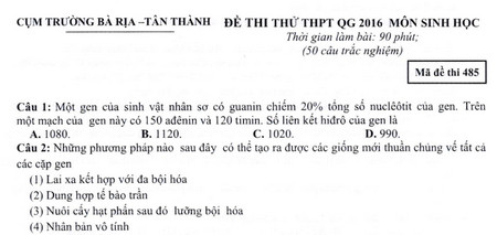 download de thi thu thpt quoc gia mon sinh cum truong ba ria tan thanh nam 2016
