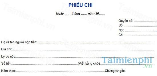 download cach viet mau phieu chi