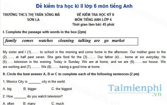 download de kiemtra hoc ki ii lop 6 mon tieng anh truong thcs thi tran song ma son la