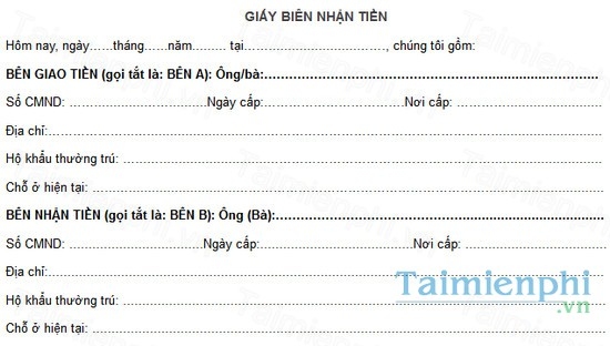 download giay bien nhan tien