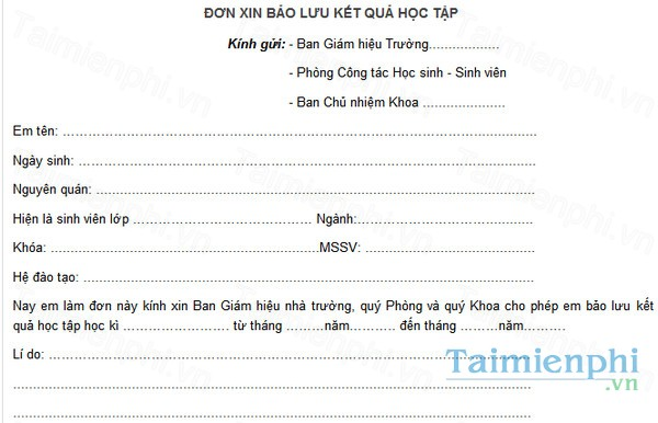 download don bao luu ket qua hoc