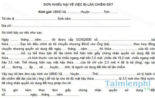 download don khieu nai giai quyet tranh chap dat dai