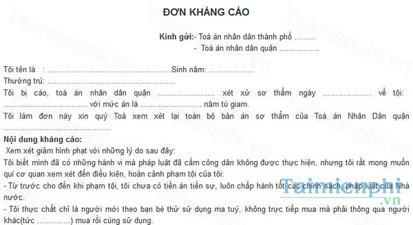 download mau don khang cao vu an hinh su