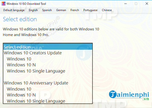 Windows 10 ISO Download Tool