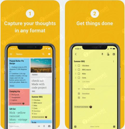 Google Keep - Tạo ghi chú công việc trực tuyến trên Android, iPhone, P
