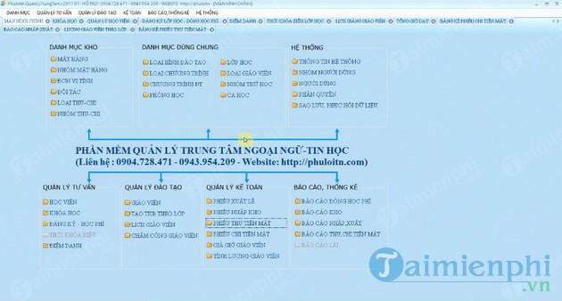 Phần mềm quản lý trung tâm ngoại ngữ - tin học Phú Lợi