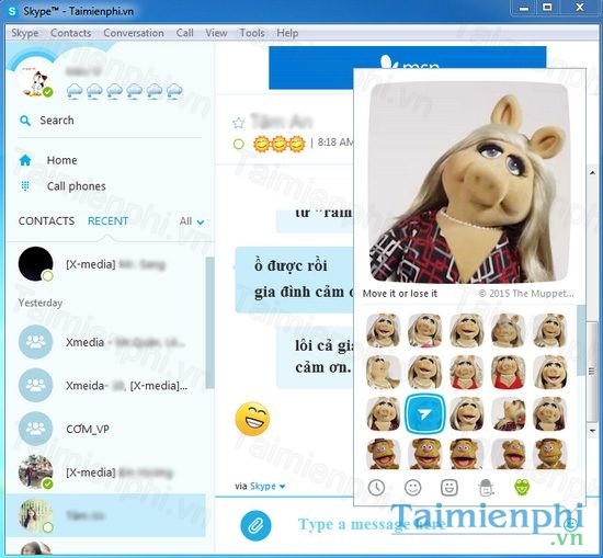 chen anh dong trong skype