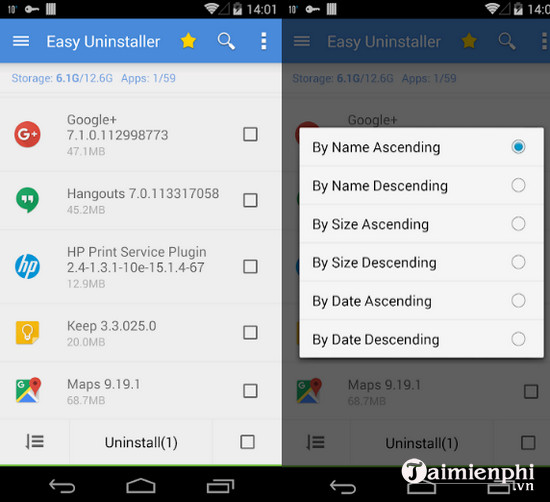 easy uninstaller cho android