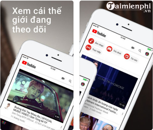 youtube cho iphone