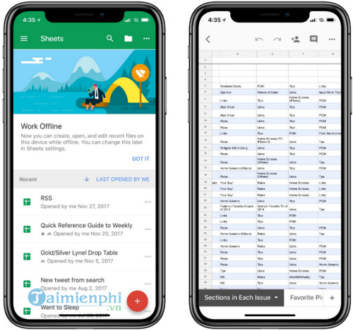 google sheets cho iphone