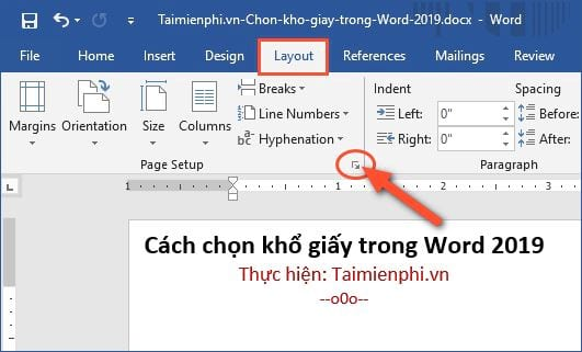 cach chon kho giay trong word 2019 2
