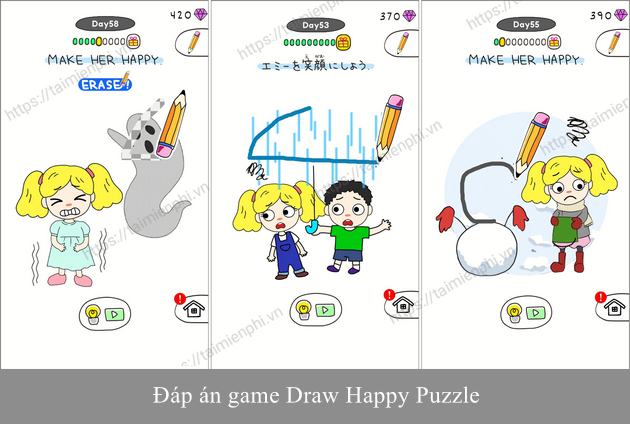 dap an game draw happy puzzle
