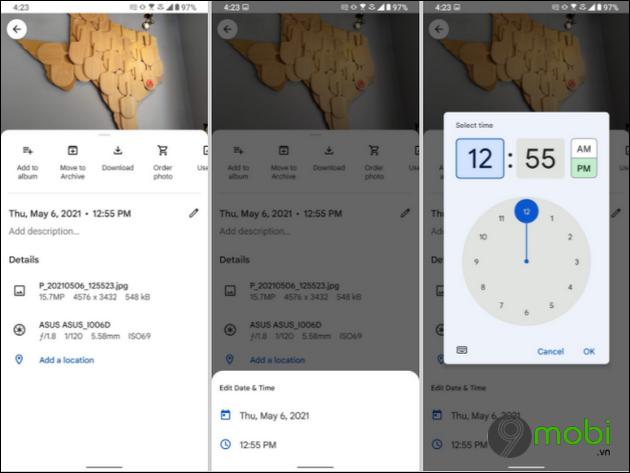 google photos cho android va ios them tinh nang thay doi ngay gio tren anh va video