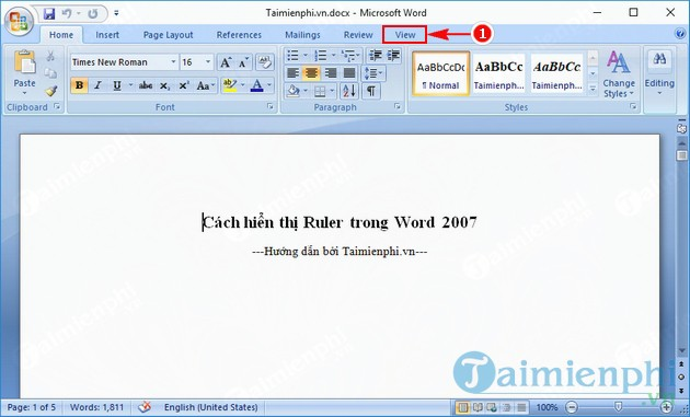 cach hien thi ruler trong word 2007 2