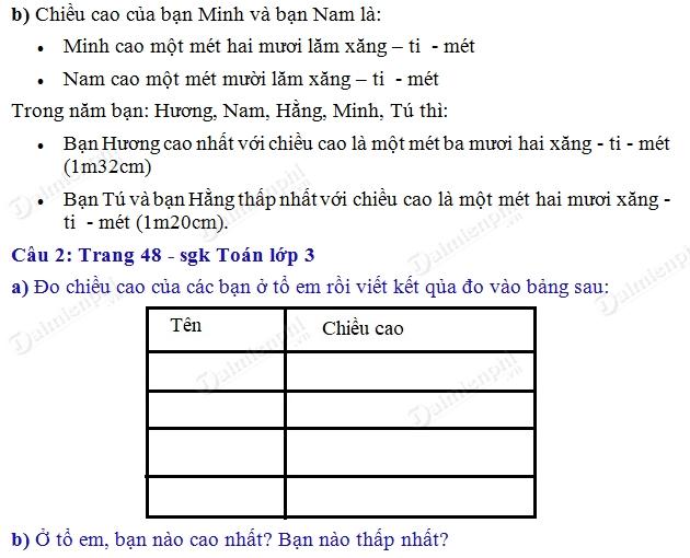 giai toan 3 trang 48 sgk thuc hanh do do dai tiep 2